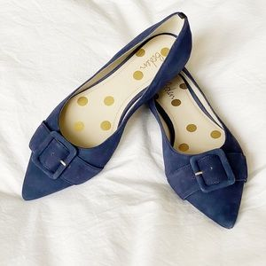Boden Suede Pointed Flats with Buckle Detail
